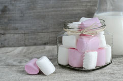 White and pink marshmallows Stock Image