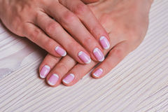 White and pink nail art Stock Photography