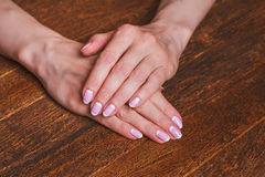 White and pink nail art Royalty Free Stock Photos