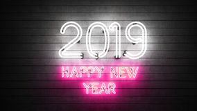 Neon Happy New Year 2019. White and pink neon lights on grunge slats spelling 2019 Happy New Year vector illustration