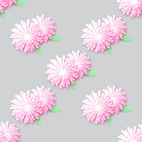 White Pink Origami Floral seamless pattern on grey background. Paper cut flowers with leaves. Trendy Design Template Vector illustration Stock Images