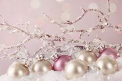 White and pink ornaments Stock Images