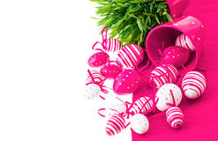White pink painted easter eggs with grass Royalty Free Stock Image