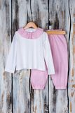 White and pink pajama set Stock Photo