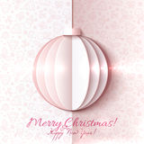 White and pink paper vector Christmas ball Stock Image