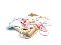 White and pink pearls necklace Stock Images