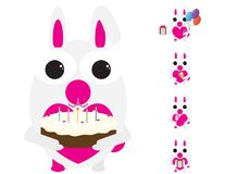 White and pink rabbit celebrating birthday party. Set of White and pink bunnies vector illustration. Eating ice cream, holding gift box and ballons, drinking Royalty Free Stock Image