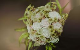 White and Pink Rose Flowers Bouquet Stock Photo