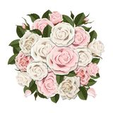 White and pink roses bouquet. Element for floral design of a greeting, wedding or invitation card. Bouquet of decorative garden flower. Bud, petals and leaves Stock Photo