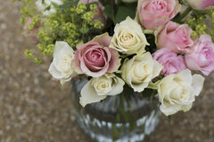 White and Pink Roses Inside Clear Glass Vase in Shallow Focus Photography Stock Images