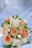 White and pink roses wedding bouquet Royalty Free Stock Photo