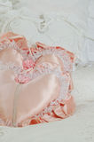 White and Pink Satin Heart Pillows Royalty Free Stock Photo