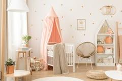 White and pink scandinavian nursery stock photos