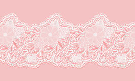 White and pink seamless lace tape on pink background. Floral seamless border for design. Stock Photography