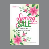 White and Pink Spring Poster with Floral Corners. White and pink spring poster with pink spring flowers in corners and pink typography Stock Photo