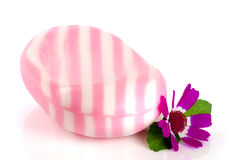 White pink striped soap with a flower isolated on white background Royalty Free Stock Photo