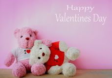 White and pink teddy bear. With red heart on red background. Valentine`s day concept stock images