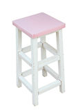 White and pink wooden stool isolated by hand made, clipping path Royalty Free Stock Photos