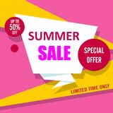 White, pink and yellow summer sale poster. royalty free illustration