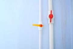 White pipe. White plastic pipe and valves Stock Photo