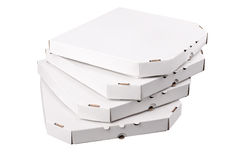 White pizza boxes template on white background Stock Images