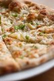 White Pizza , garlic and Mozzarella Cheese Stock Photo