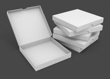 White pizza packaging boxes. With blank cover for design 3d illustration isolated on grey background Royalty Free Stock Photo