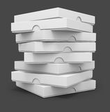 White pizza packaging boxes. With blank cover for design 3d illustration isolated on grey background Stock Photography