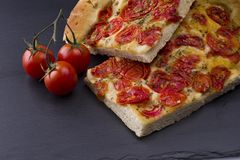 white pizza with tomatoes Stock Images