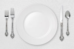White Place Setting (with clipping path). White Place Setting on tablecloth with a clipping path royalty free stock image