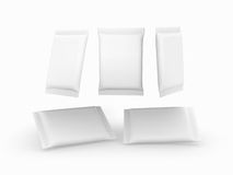 White Plain Flow Wrap Packet With Clipping Path Royalty Free Stock Photography