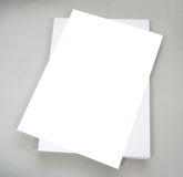 White plain office paper on gray background Stock Images