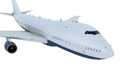 White plane flying. airplane boeing 747. Isolate Royalty Free Stock Image