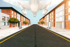 White plane. Flying over the street. 3D Rendering Royalty Free Stock Images
