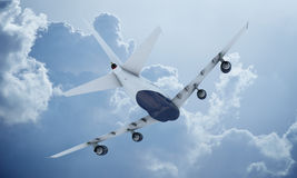 White plane flying in sky and clouds. Airplane boeing 747 Royalty Free Stock Images