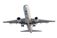 White plane with landing gear Stock Photography
