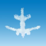 White plane shaped cloud flying away Stock Images