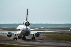 Airplane on the runway Royalty Free Stock Photos