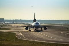 Airplane on the runway Royalty Free Stock Photography