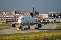 Airplane on the runway Stock Photo