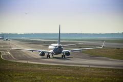 Airplane on the runway Royalty Free Stock Images