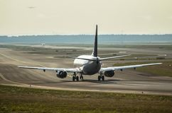 Airplane on the runway Royalty Free Stock Photo