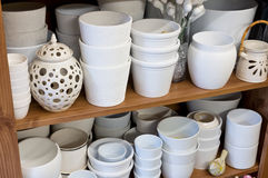 White planters in the florist shop Royalty Free Stock Photography