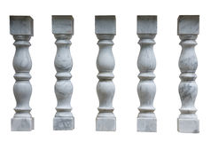 White plaster columns, balusters for stairs Royalty Free Stock Photo