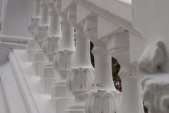 White plaster railings. Close-up picture Stock Photo