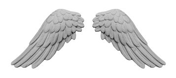 White plaster wings. On isolated white background stock image