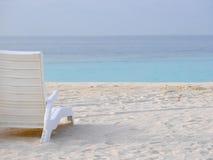 White plastic beach chair on a white sand beach with baby bird. White plastic beach chair on a white sand beach with baby black-naped tern or sterna sumatrana on Royalty Free Stock Photo