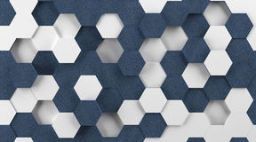 White Plastic and Blue Fabric Hexagon Background Stock Images