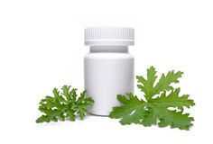 Bottle for tablets with herbs Stock Images