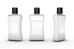 White plastic bottle with white blank label, clipping path inclu Royalty Free Stock Image